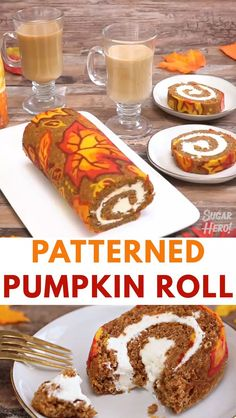 This Patterned Pumpkin Roll with a gorgeous autumn leaf decoration will be the star of your dessert table! A moist pumpkin cake is rolled around a pumpkin spice cream cheese filling, and the outside is decorated with a design of colorful fall leaves. Thanksgiving Desserts, Holiday Desserts, Holiday Baking, Autumn Desserts, Fall Baking, Holiday Cakes, Pumpkin Recipes, Fall Recipes, Holiday Recipes