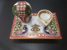 Lord Ganesh Religious Marble Chowki Classy kundan Art Studded handmade decor $$$