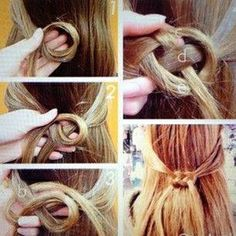 Hair style, elf knot. I'd probably wrap the ends around to make a ponytail.
