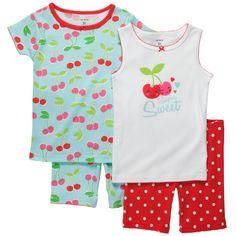 Snug-Fit Cotton 4-Piece Pjs | Toddler Girl Pajamas