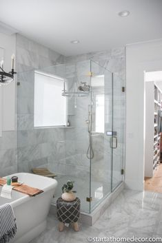 Master Bathroom Reveal | Start at Home Decor | Marble Bathroom Freestanding Tub Filler, Quarter Sawn White Oak, Floating Vanity, Hanging Light Fixtures, Bathroom Stuff, Roller Shades, Funky Junk, Bathroom Fixtures
