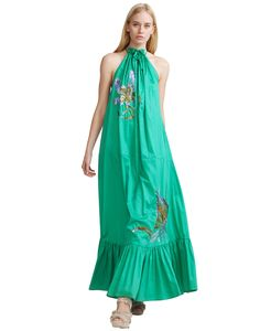 Halter style maxi dress in jade polished cotton with floral sequin details. Neckline features raw edge finish with ties that create a shirring and voluminous fit. Ankle length finished with wide ruffle flounce.</p> <p>Fabric: 100% Cotton</p> <p>Car