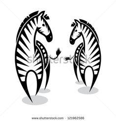 Zebras - vector illustration