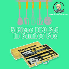 The 5 Piece Bbq Set In Bamboo Box is a very simple product for usage, whenever your customers get a chance to use it; they can make the best out of it by using it for outdoor bbq cooking that will signify higher commercial publicity for your company name among your customers.