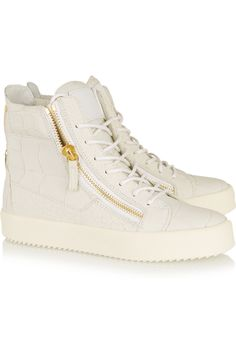 Giuseppe Zanotti|Croc-effect leather high-top sneakers|NET-A-PORTER.COM