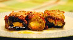 Γεμιστά ρολά μελιτζάνας με παστουρμά και κοπανιστή ,σε σάλτσα από λιαστή ντομάτα!
