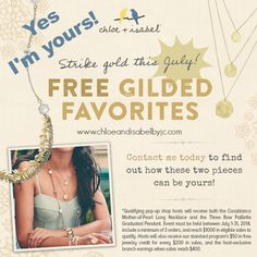 Get 2 Necklaces for FREE!!! For the month of JULY! Contact me for more details.  Visit my boutique for jewelry details: http://www.chloeandisabelbyjc.com    #jewelry #jewelryshop #freebies #hostess #july