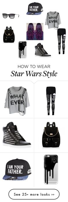 """""""The bad girl"""" by disunicorntho on Polyvore featuring Philipp Plein, Ray-Ban, Casetify, Starter and Forever New"""