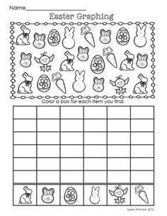 Easter Math - graphing, missing number, counting on, & ten frames math worksheets ten frames Easter Worksheets, Kindergarten Addition Worksheets, Graphing Worksheets, Printable Math Worksheets, Worksheets For Kids, Kindergarten Activities, Kindergarten Age, Easter Activities, Preschool Math