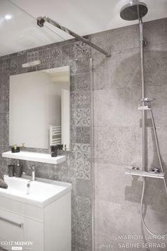 douche l 39 italienne carrelage effet parquet effet b ton sdb pinterest art art mural. Black Bedroom Furniture Sets. Home Design Ideas