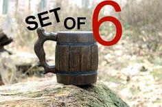 Set di 6 in legno boccale di birra tankard in legno boccale