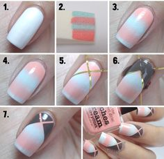 Kriss-Kross Gradient Nail Art Tutorial | Chikk.net