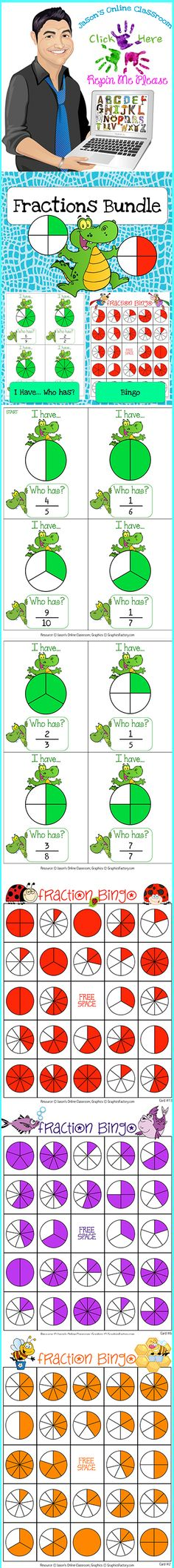$6.50 - This resource features our Fractions I Have...Who Has? Game + our Fractions Bingo Game in one awesome BUNDLE PACKAGE for a much cheaper price than purchasing each separately!  Click on the link below for more info about the images used to make this resource (Images © Graphics Factory) http://jasonsonlineclassroom.com./graphics-factory/