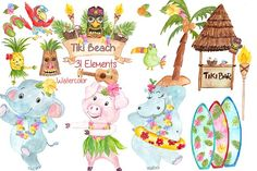 Watercolor Hawaii Clipart (Graphic) by vivastarkids · Creative Fabrica Nautical Clipart, Beach Clipart, Cute Clipart, Pencil Illustration, Graphic Illustration, Illustrations, Hula, Watercolor Sea, Watercolor Animals
