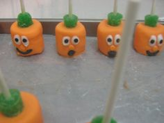 Pumpkin Halloween chocolate covered marshmallow pops suckers 12 count. $12.00, via Etsy.