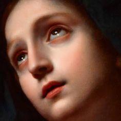 Particolari di opere: Madonna in gloria. Carlo Dolci, olio su tela del 1665-67. Visual Arts of Stanford University, Stanford. Lo sguardo lucente verso il cielo, un forte e nello stesso tempo morbido contrasto. Un inno alla fede.