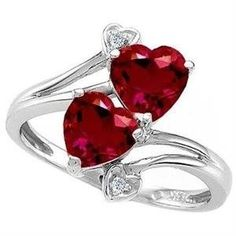Ruby and diamonds heart ring