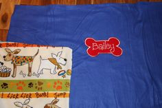 REVERSIBLE Personalized Pet Blanket Dog Blanket Fleece Custom Embroidered Dog Blanket with Dog Name WOOF Made to Order by RedBobbinDesigns on Etsy