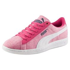 <p>The Vikky is one of our favorites. The perfect balance of feminine and sporty, its basketball-inspired silhouette features a jersey upper and a classic PUMA Formstrip...making it the perfect pair for on-the-go style.</p><p>Features</p><ul><li>Jersey and synthetic leather upper</li><li>Lace closure for a snug fit</li><li>SoftFoam sockliner for the ultimate comfort</li><li>Rubber outsole for grip...