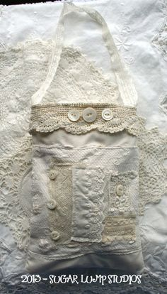 Vintage and Laces HANDMADE Bag with vintage laces and mop buttons