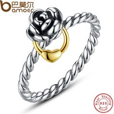 BAMOER Genuine 925 Sterling Silver Finger Ring with  Gold Color Heart Charm for Women Wedding Sterling Silver Jewelry PA7113