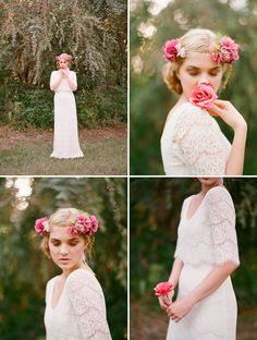 Gorgeous lace dress (Betula) from the Myra Callan Bridal Collection - photo by Elizabeth Messina