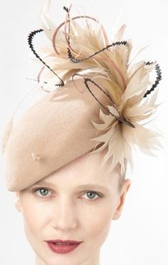 8876aa201e54f8 Jane Taylor Millinery AW 2014 Emery- Felt Beret Hat with Feathers