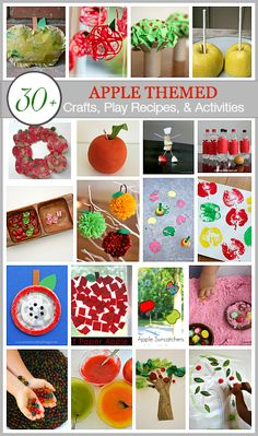Over 30 apple themed crafts, play recipes, and activities for fall! Including apple sensory play, apple tree handprint craft, apple sun catcher and more! via /cmarashian/ Apple Activities, Autumn Activities For Kids, Fall Preschool, Crafts For Kids, Preschool Crafts, Preschool Apples, Preschool Education, Preschool Themes, Creative Activities