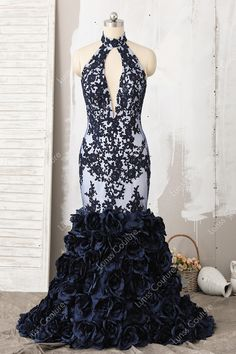 19c2a0c12e2 Luxury High Neck Lace Embroidered Keyhole Midnight 3D Rosette Trumpet Prom  Dress Mermaid Prom Dresses