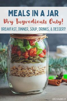 Mason Jar Meals, Meals In A Jar, Mason Jar Cookie Recipes, Freeze Drying Food, Freeze Dried Meals, Homemade Dry Mixes, Canning Recipes, Dehydrated Food Recipes, Drink Recipes