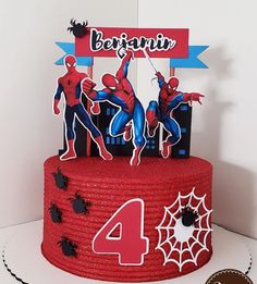 Spiderman Cake Topper, Superhero Cupcake Toppers, Spiderman Birthday Cake, Spiderman Theme, Superhero Cake, Spiderman Pasta, Bolo Super Man, 14th Birthday Cakes, Spider Cake
