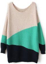 suéter geométrico-blanco&verde&zaul oscuro