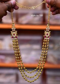 Jewelry OFF! Beautiful one gram gold long haaram with triple gold ball hangings. Gold Jhumka Earrings, Gold Earrings Designs, Necklace Designs, Gold Necklace Simple, Gold Jewelry Simple, Delicate Necklaces, Gold Chain Design, Gold Jewellery Design, 26 November