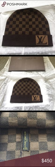 Authentic Louis Vuitton damier LV logo unisex hat New authentic Louis Vuitton damier brown and caramel unisex hat. Thick stretchy knit. Sold out everywhere! Louis Vuitton Accessories Hats