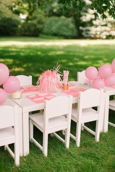 Pink American Girl Party / Style Me Pretty Tangled Party, Cinderella Party, Kids Birthday Themes, Birthday Parties, Kid Parties, American Girl Parties, American Girls, Kids Party Tables, Outdoor Birthday