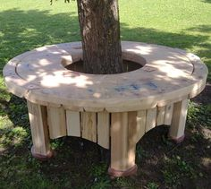 round tree bench made out of salvaged woods #LiquidGoldSalvagedWood