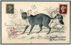 Original Faux Mail 'Blue Fox' Approx 6.25 X 4 by BANTOCKart, $300.00