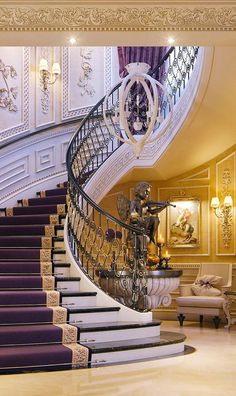 Luxury Mansions Archives - Page 8 of 11 - Luxury Decor - Luxury Interior Luxury Decor, Luxury Interior, Home Interior Design, Exterior Design, Grand Staircase, Staircase Design, Luxury Staircase, Staircase Landing, Curved Staircase