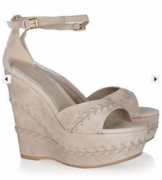 $1,025 Alexander McQueen whipstitched suede wedge sandals in DUSTBAG & ORIG BOX