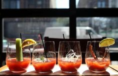 Bloody mary flight at Bin Wine Cafe (now closed). Check out the 2013 outdoor dining and drinking guide and the city's top BYOBs. Brunch Chicago, Brunch Spots, Bloody Mary, Cool Bars, Outdoor Dining, Gin, Melbourne, Drinking, Things To Do