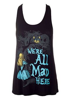 21943ac9a1 Sidecca Alice in Wonderland We re All Mad Here Muscle Tank-Black-Small at  Amazon Women s Clothing store