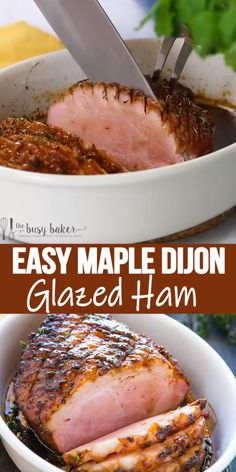 This Easy Maple Dijon Glazed Ham is the perfect classic roast ham recipe with a simple sweet and tangy glaze made with dijon mustard maple syrup and fresh herbs. Recipes With Ham Roast, Leftover Ham Recipes, Pork Recipes, Roast Ham Recipe, Baked Ham Recipes, Easy Ham Recipes, Amish Recipes, Dutch Recipes, Meat Recipes