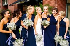 The EXACT navy bridesmaid dresses I want, convertible so each lady can customize her look.