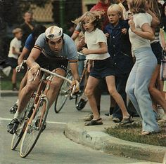 Eddy Merckx eating up the curve. Classic!