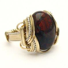 Handmade Wire Wrap Two Tone Sterling Silver/14kt Gold Filled Poppy Jasper Ring $125