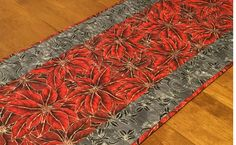 Poinsettia Table Runner Quilted Christmas Table Runner