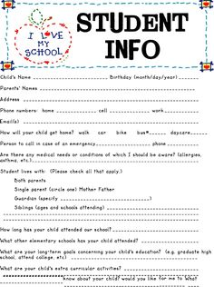 Student Information sheet - would be a handy tool for teachers of older students in a bigger school