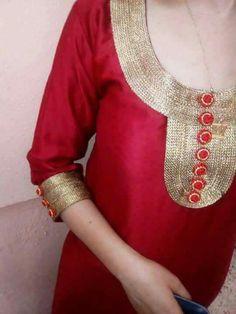 Simple Kurta Designs, Kurti Neck Designs, Dress Neck Designs, Blouse Designs, Traditional Fashion, Traditional Dresses, Crochet Wedding Dress Pattern, Covet Fashion, Womens Fashion