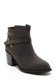 """Mali Strapped Ankle Bootie in black by Michael Antonio $59 - $25 @HauteLook. - Almond toe - Side zip closure - Contrast strapped ankle detail with studs - Stacked heel - Approx. 4"""" shaft height, 10.5"""" opening circumference - Approx. 2"""" heel - PU upper, manmade sole"""