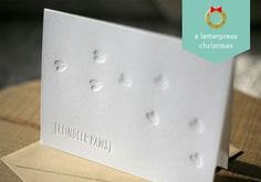 Reindeer Paws Letterpress Holiday Card | Foglio Press